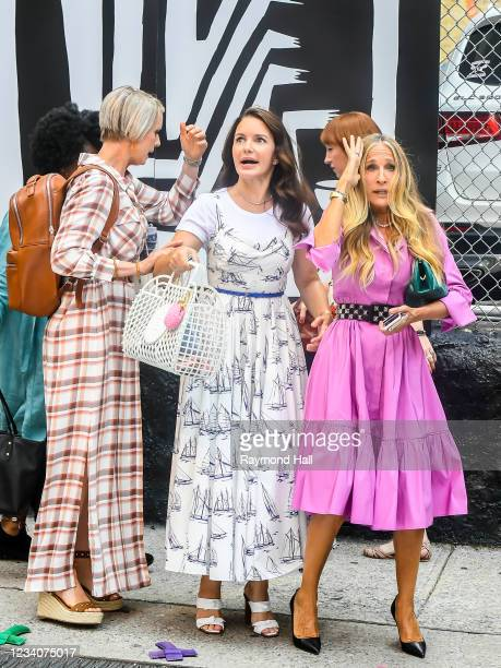 """Cynthia Nixon, Kristin Davis, Sarah Jessica Parker seen on the set of """"And Just Like That..."""" the follow up series to """"Sex and the City"""" in SoHo on..."""