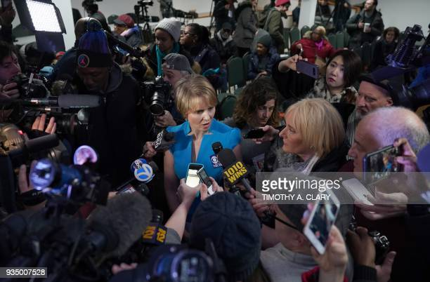 TOPSHOT Cynthia Nixon meets with people at the Bethesda Healing Center on March 20 2018 in Brooklyn New York at her first event since announcing that...