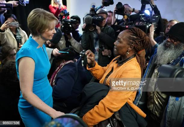 Cynthia Nixon meets with people at the Bethesda Healing Center on March 20 2018 in Brooklyn New York at her first event since announcing that shes...