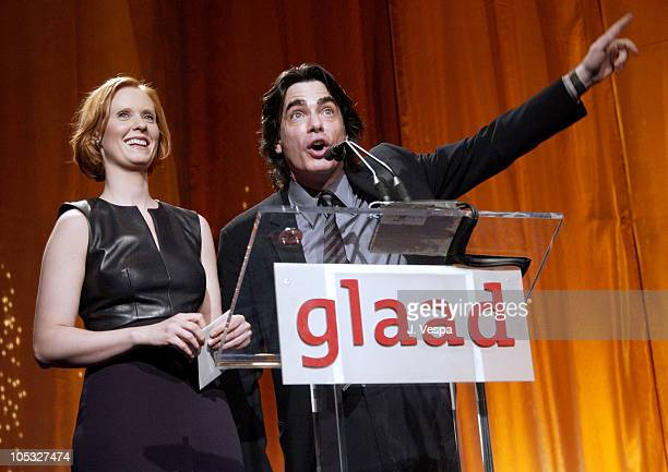Cynthia Nixon Peter Gallagher during 13th Annual GLAAD Media Awards New York Show at Marriott Marquis in New York City New York United States