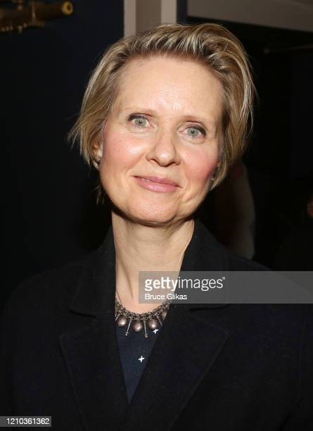 """Cynthia Nixon poses at the opening night of the new Richard Greenberg play """"The Perplexed"""" at Manhattan Theater Club Stage 1 on March 3, 2020 in New..."""
