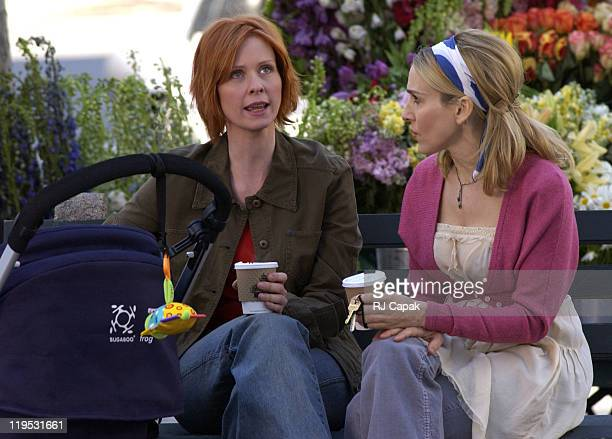 """Cynthia Nixon & Sarah Jessica Parker during Cynthia Nixon and Sarah Jessica Parker on Location for """"Sex and the City"""" at Manhattan in New York City,..."""