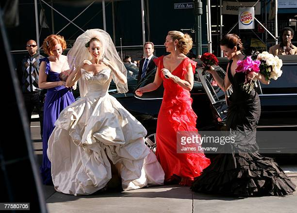Cynthia Nixon Sarah Jessica Parker Kim Cattrall and Kristin Davis on the set of Sex and the City The Movie on October 30 2007 in New York City