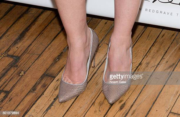 Cynthia Nixon shoe detail attends the MotherStruck opening night at the Lynn Redgrave Theatre on December 14 2015 in New York City