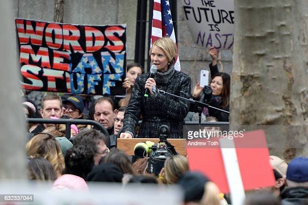 Cynthia Nixon speaks during the 2017 Women's March Sister March in New York on January 21 2017 in New York City