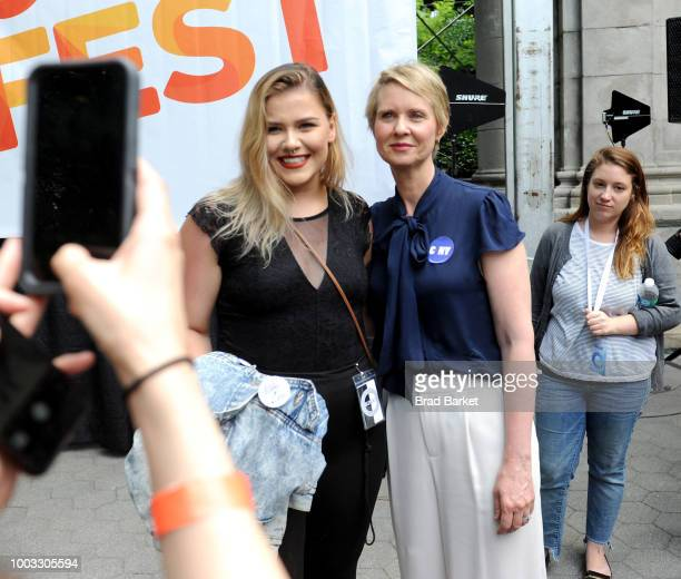 Cynthia Nixon speaks onstage during OZY Fest 2018 at Rumsey Playfield Central Park on July 21 2018 in New York City