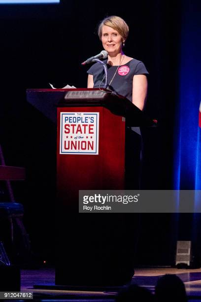 Cynthia Nixon speaks onstage during The People's State Of The Union at Town Hall on January 29 2018 in New York City