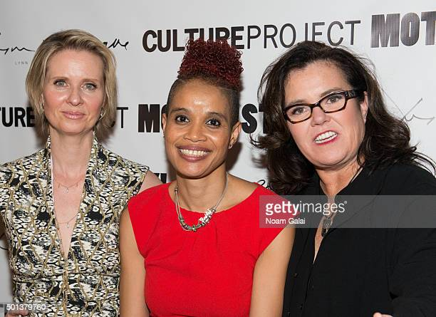 Cynthia Nixon Staceyann Chin and Rosie O'Donnell attend the MotherStruck opening night at the Lynn Redgrave Theatre on December 14 2015 in New York...
