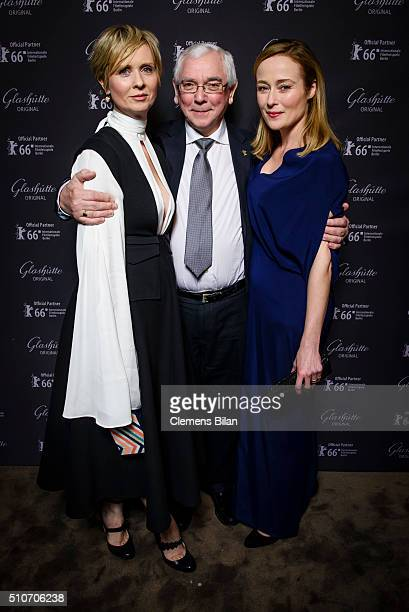 Cynthia Nixon Terence Davies and Jennifer Ehle attend the 'Quiet Passion Pre Premiere at Glashuette Lounge' on February 14 2016 in Berlin Germany