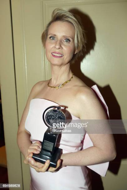 """Cynthia Nixon winner of the award for Best Featured Actress in a Play for """"The Little Foxes"""" poses outside the press room during the 2017 Tony Awards..."""