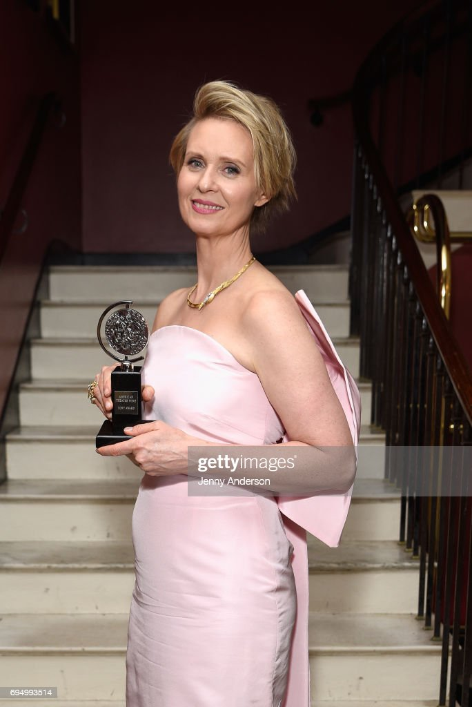"""Cynthia Nixon, winner of the award for Best Featured Actress in a Play for """"The Little Foxes,"""" poses in the press room during the 2017 Tony Awards at 3 West Club on June 11, 2017 in New York City."""