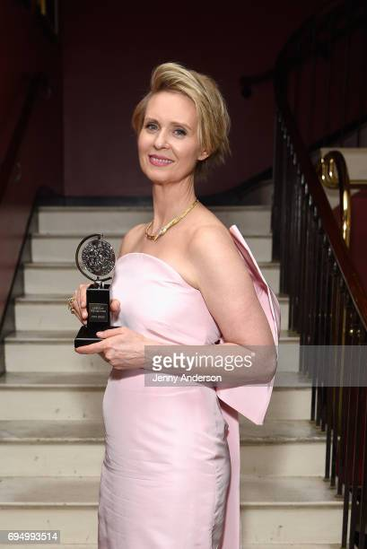 "Cynthia Nixon winner of the award for Best Featured Actress in a Play for ""The Little Foxes"" poses in the press room during the 2017 Tony Awards at 3..."