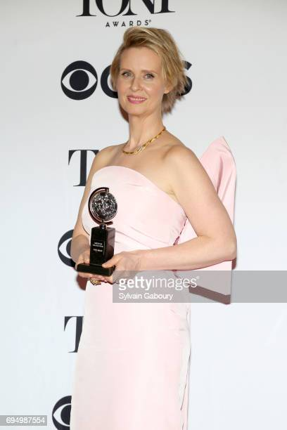 """Cynthia Nixon, winner of the award forBest Featured Actress in a Play for """"The Little Foxes,"""" poses in the press room during the 2017 Tony Awards at..."""