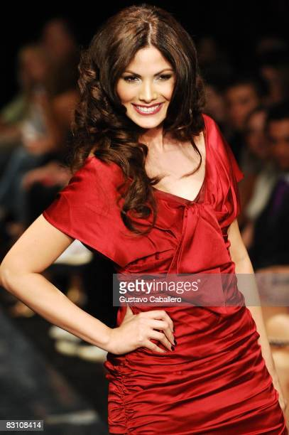 Cynthia Olavarria attends the runway at the Red Dress Show for the American Heart Association during Funkshion Fashion Week at Miami Beach Botanical...