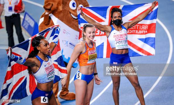 Cynthia Sember of Great Britain, Nadine Visser of Netherlands and Tiffany Porter of Great Britain pose for the pictures after the 60m Hurdles during...
