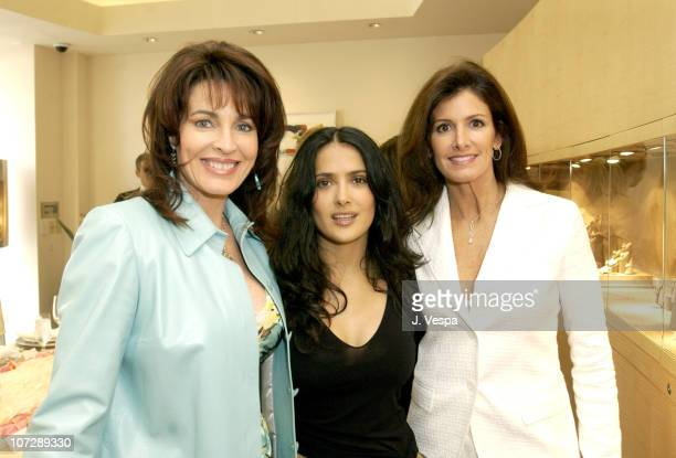Cynthia Sikes Yorkin Salma Hayek and Kelly Katz during Martin Katz Luncheon Benefiting American Cinematheque Hosted by Martin Katz and Irenna Medavoy...