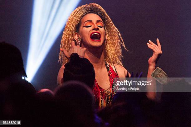 Cynthina Lee Fontaine performs onstage during the RuPaul's Drag Race Season 8 Finale Party at Stage 48 on May 16 2016 in New York City