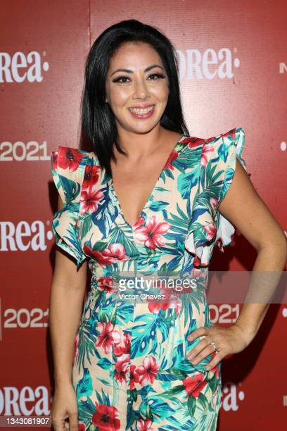 Cyntia González attends the presentation of the Fall/Winter collection by Andrea at TV Azteca Ajusco on September 26, 2021 in Mexico City, Mexico.