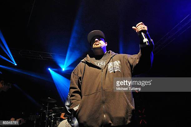 Cypress Hill vocalist BReal performs with allstar cover band Camp Freddy at the benefit grand opening of celebrity vehicle customization shop Galpin...