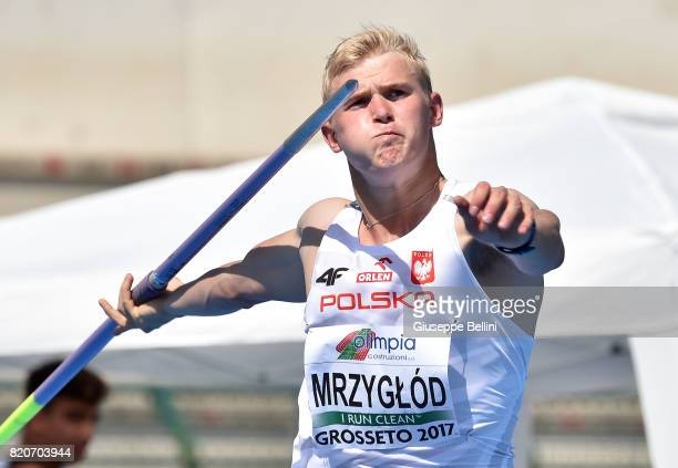 Cyprian Mrzyglod of Poland wins Javeli Throw Men during European Athletics U20 Championships on July 22 2017 in Grosseto Italy