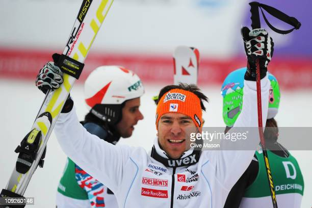 Cyprien Richard of France celebrates finishing second in the Men's Giant Slalom during the Alpine FIS Ski World Championships on the Kandahar course...