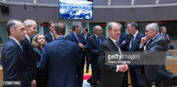 Cypriot Finance Minister Charis Georgiadis is talking with the Estonian Finance Minister Toomas Toniste the Spanish Minister of Minister of Economy...