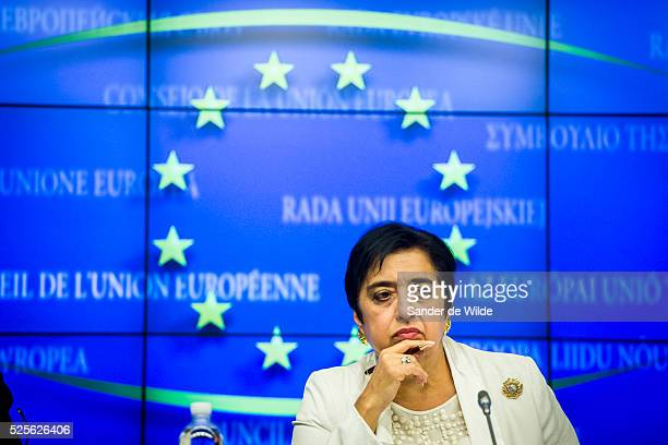 Cypriot Foreign Affairs minister Erato Kozakou-Marcoulis gives a press conference on July 24, 2012 following an EU-Israel Association Council meeting...