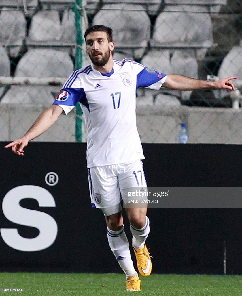 Cypriot player George Efrem celebrates scoring a goal during their Euro 2016 Group B qualifying match against Andorra at the GSP Stadium in the capital Nicosia on November 16, 2014.