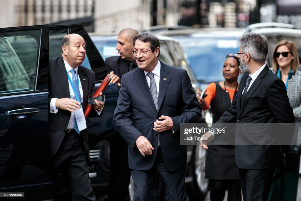Cypriot President Nicos Anastasiades (C) arrives on Downing Street to meet with British Prime Minister Theresa May on April 17, 2018 in London, England. The UK this week hosts heads of state and government from the Commonwealth nations.