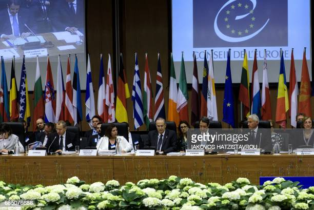 Cypriot President Nicos Anastasiades , Secretary General of the Council of Europe Thorbjorn Jagland attend the Council of Europe meeting in Cyprus,...