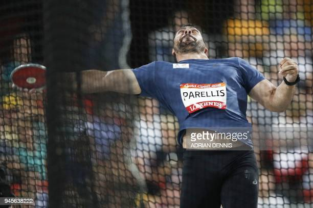 Cyprus Apostolos Parellis competes in the athletics men's discus throw final during the 2018 Gold Coast Commonwealth Games at the Carrara Stadium on...