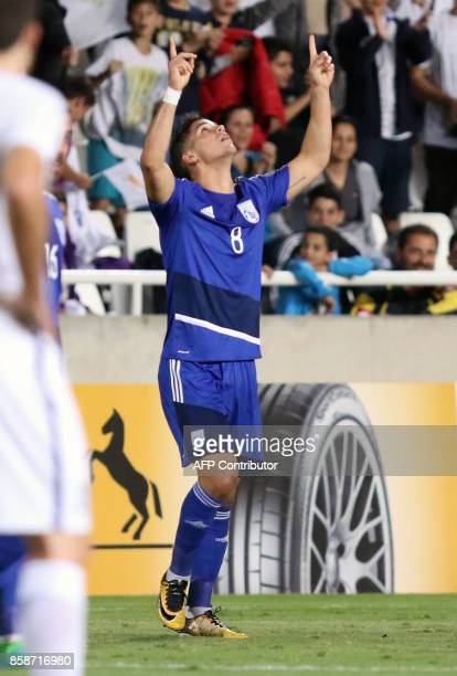 Cyprus' forward Pieros Sotiriou celebrates his goal during their World Cup 2018 qualifying Group H football match between Cyprus and Greece at the...