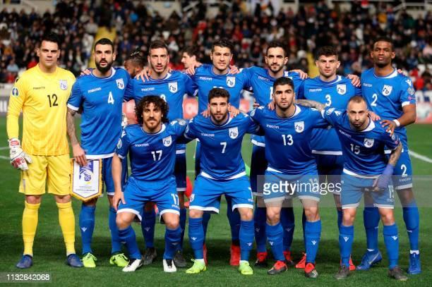 Cyprus' goalkeeper Urko Pardo, defender Giorgos Merkis, forward Minas Antoniou, midfielder Kostakis Artymatas, defender Konstantinos Laifis, defender...