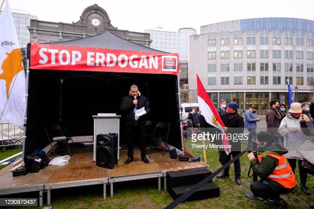 Cyprus Member of the European Parliament Group of the European People's Party - Democratic Rally) Loucas Fourlas gives a speech during an anti...