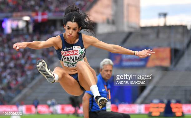 Cyprus' Nektaria Panagi competes in the women's Long Jump final during the European Athletics Championships at the Olympic stadium in Berlin on...
