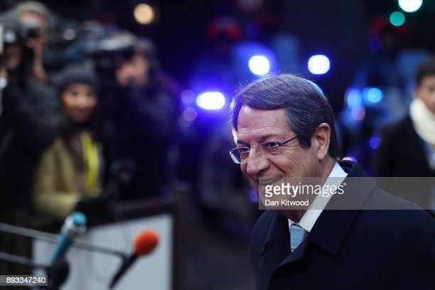 Cyprus' President Nicos Anastasiades arrives for the second day of the European Union leaders summit at the European Council on December 15 2017 in...