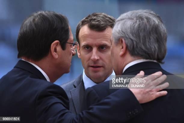 Cyprus' President Nicos Anastasiades France's President Emmanuel Macron and European Parliament President Antonio Tajani attend a European leaders...