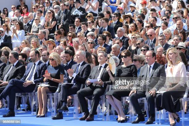 Cyprus' President Nicos Anastasiades French Prime Minister Edouard Philippe French President's wife Brigitte Macron the President of the French...