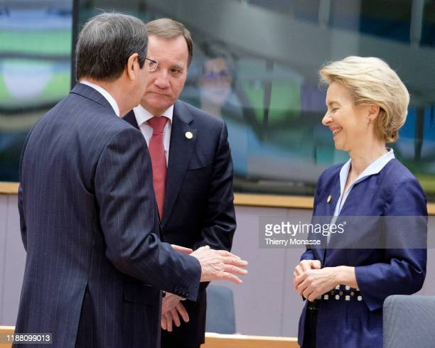 Cyprus President Nikos Anastasiadis is talking with the Swedish Prime Minister Kjell Stefan Lofven and the President of the European Commission...