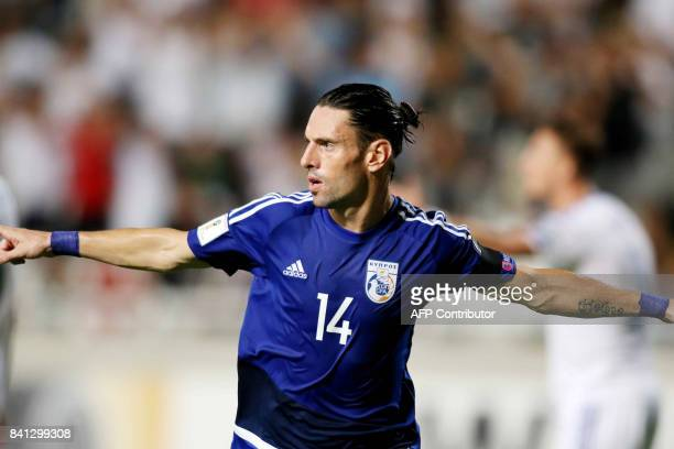 Cyprus' Vincent Laban celebrates scoring against Bosnia and Herzegovina's team during their World Cup 2018 Europe qualifying match between Cyprus and...