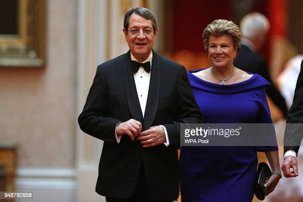 Cyprus's President Nicos Anastasiades arrives to attend The Queen's Dinner during The Commonwealth Heads of Government Meeting at Buckingham Palace...