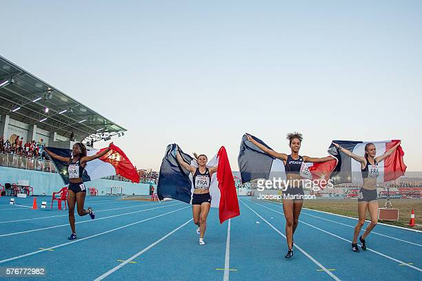 Cyrena SambaMayela Eloise De La Taille Marine Mignon and Jean Iman of France celebrate after winning the Girls Medley Relay final during European...
