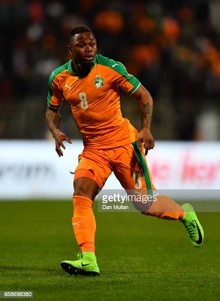 Cyriac Gohi Bi of the Ivory Coast in action during the International Friendly match between the Ivory Coast and Senegal at the Stade Charlety on...