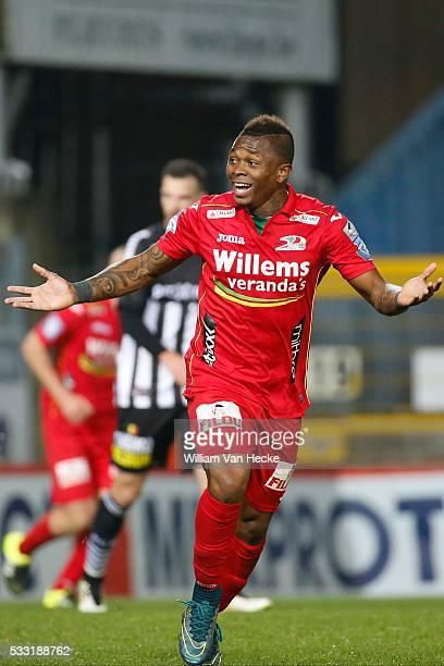 Cyriac Gohi Bi Zoro of Oostende celebrates Saglik Enes midfielder of Charleroi celebrates pictured during the Jupiler Pro League match between...