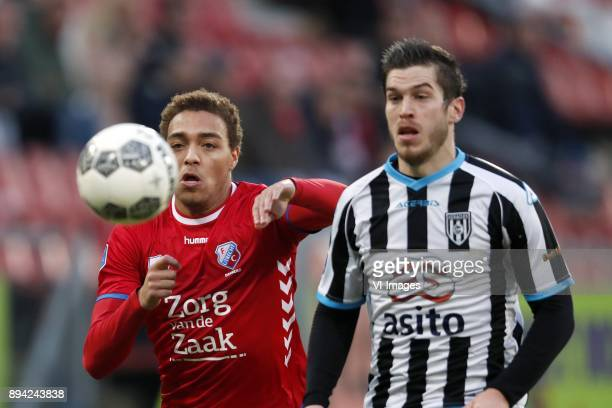 Cyriel Dessers of FC Utrecht Dries Wuytens of Heracles Almelo during the Dutch Eredivisie match between FC Utrecht and Heracles Almelo at the...