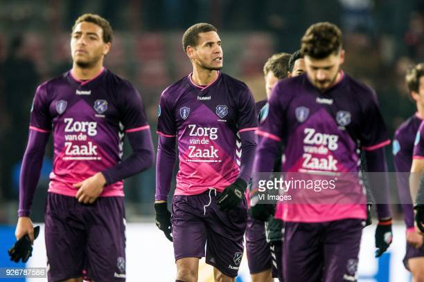 Cyriel Dessers of FC Utrecht Ramon Leeuwin of FC Utrecht Mateusz Klich of FC Utrecht during the Dutch Eredivisie match between PSV Eindhoven and FC...