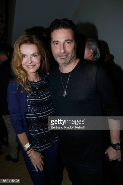 Cyrielle Clair and artist Richard Orlinski attend the One Woman Show by Christelle Chollet for the Inauguration of the Theatre de la Tour Eiffel Held...