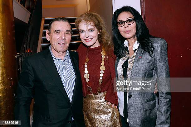 Cyrielle Clair between her companion Michel Corbiere and French Minister Yamina Benguigui attend 'Ninon Lenclos ou La Liberte' Theater Play on May 15...
