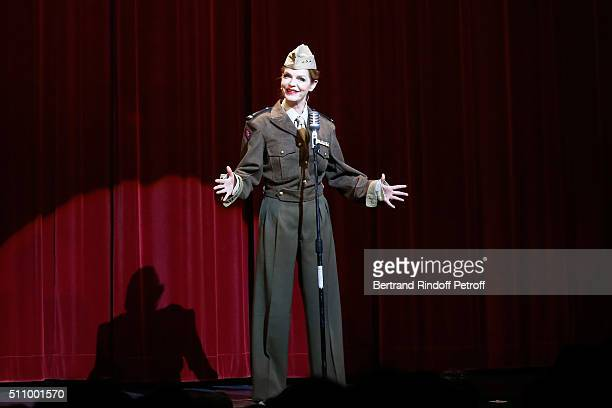 Cyrielle Clair performs in Le Retour De Marlene Dietrich Theater Play at Espace Pierre Cardin on February 17 2016 in Paris France