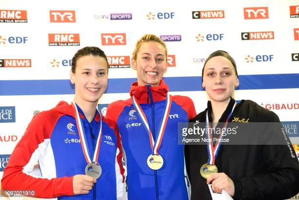 Cyrielle Duhamel of France Fantine Lesaffre of France and Claudia Hufnagel of Austria 400m medley during the Golden Tour Camille Muffat on February 9...